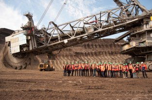 Group in front of bucket-wheel excavator at Garzweiler mine