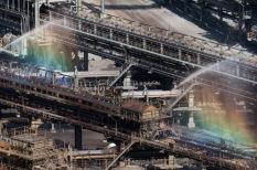 Water sprays at Garzweiler mine conveyor transfer station