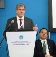 "Scott Foster, Director - Sustainable Energy Division, UNECE and Dr. Lin Hongyu, Director of Cooperation Bureau, Global Energy Interconnection Development and Cooperation Organization (GEIDCO) speak on the ""deep transformation"" of the energy system through electricity"
